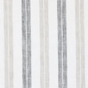 Ben Nevis - Stone - Off-white linen, cotton and polyester blend fabric behind pairs of vertical stripes in either dark grey or beige