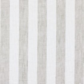 Everest - Stone - Linen, cotton and polyester blend fabric with a simple striped pattern in off-white and grey-beige colours