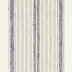 Kilimanjaro - Stone - Mid-grey and lighter grey-beige stripes on an off-white linen-cotton-polyester blend fabric background