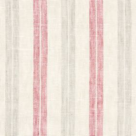 Ben Nevis - Redwood - A creamy beige coloured linen-cotton-polyester blend fabric background to pairs of brown and dusky pink stripes