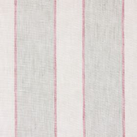 Annapurna - Redwood - Pink and light brown stripes between creamy beige stripes on fabric made from linen, cotton and polyester