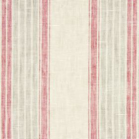 Kilimanjaro - Redwood - Striped fabric blended from linen, cotton and polyester in creamy beige, pink and light brown