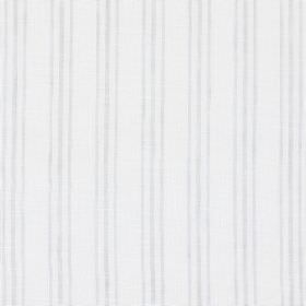 Andes - Chrome - Linen, cotton and polyester blend fabric in white, with trios of thin light grey lines running vertically throughout
