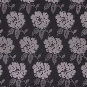 Bardot - Graphite - Cotton fabric in dark grey, with a repeated pattern of light grey leaves and white flowers edged in grey