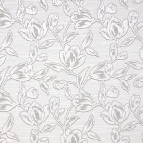 Hepburn - Pearl - Fabric made from floral patterned cotton in light grey, with a design in white and beige