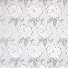 Bardot - Pearl - Cotton fabric with a large, repeated floral print in white and two different pale shades of grey