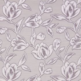 Hepburn - Lavender - Light grey fabric made from cotton, printed with white flowers and leaves which have been shaded with purple