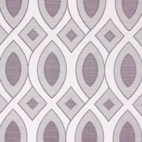 Valentine - Lavender - Interlocking, wavy lines and geometric shapes printed in white, purple and light grey on fabric made from cotton