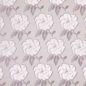 Bardot - Lavender - Fabric made from light grey cotton, with rows of large flowers and leaves in white and a slightly darker shade of grey