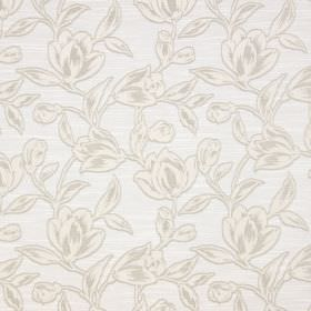 Hepburn - Ivory - Cotton fabric featuring a pattern of shaded flowers in grey and white on a background of very light grey