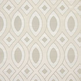 Valentine - Ivory - Pale grey, beige and white patterned cotton fabric featuring wavy lines and geometric shapes