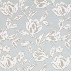 Hepburn - Azure - Pale blue coloured cotton fabric patterned with grey and white flowers and leaves