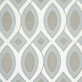 Valentine - Azure - Light shades of grey and blue within interwoven curving white lines on cotton fabric