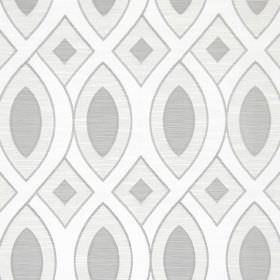Valentine - Silver - Patterned cotton fabric with wavy lines and geometric shapes in different shades of silver