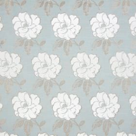 Bardot - Azure - White flowers with grey leaves and edging printed on pale blue coloured cotton fabric