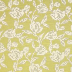 Hepburn - Eucalyptus - Shaded grey and white flowers and leaves printed on an olive green coloured cotton fabric background
