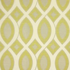 Valentine - Eucalyptus - Cotton fabric printed with interwoven wavy white lines and shapes in both grey and green-yellow