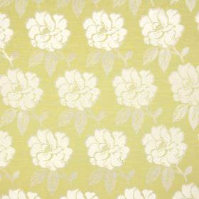 Bardot - Eucalyptus - Green-yellow coloured cotton fabric, printed with white leaves which have been edged in grey, and grey leaves