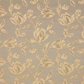 Hepburn - Sienna - Dark grey cotton fabric, printed with flowers and leaves which have been shaded in cream and gold colours