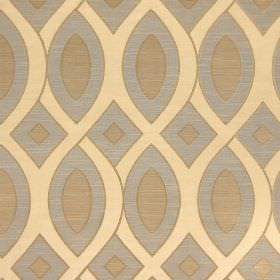 Valentine - Sienna - Cotton fabric with a design of cream-beige coloured wavy, interlocking lines, and geometric shapes in blue-grey and gol