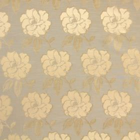 Bardot - Sienna - Floral print cotton fabric in cream, gold and grey-blue