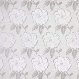 Bardot - Silver - White, light grey and a slightly darker shade of grey making up the floral pattern on this cotton fabric
