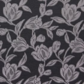 Hepburn - Graphite - Light grey, mid grey and charcoal grey coloured floral print cotton fabric
