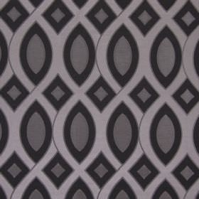 Valentine - Graphite - Fabric made from patterned cotton in black, grey-brown and silver
