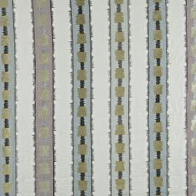 Istana - Dusk - Various different materials making up a fabric with a vertical stripe and square design in several different grey shades
