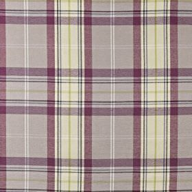 Mysore - Amethyst - Purple, white and green shades making up a checked design on fabric made from cotton, acrylic and polyester
