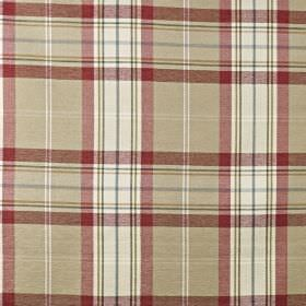 Mysore - Ruby - Checked cotton, acrylic and polyester blend fabric made in white, dark teal, beige and dark red shades