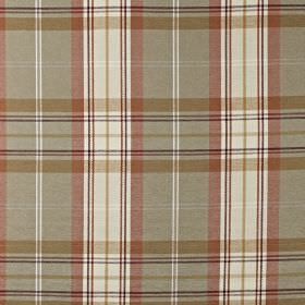 Mysore - Amber - Fabric made from cotton, acrylic and polyester, with a checked design in white and muted red and grey tones