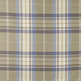 Mysore - Sapphire - White and light shades of grey and blue making up a checked design on cotton, acrylic and polyester blend fabric