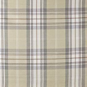 Mysore - Dusk - Cotton, acrylic and polyester blend fabric featuring a checked design in white and light shades of grey and beige