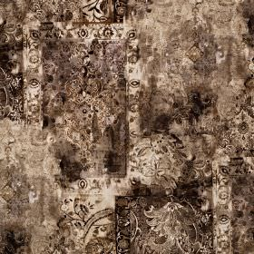 Pashmina - Dusk - Creamy brown-grey shades making up a roughly printed cotton and polyester blend fabric with patterns and areas of colour
