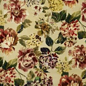 Fontainebleau - Ruby - Vintage inspired florals printed on cotton and polyester blend fabric in dusky red, warm cream and dark green shades