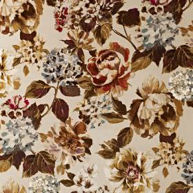 Fontainebleau - Amber - Dark shades of brown, cream and sepia making up a vintage inspired floral pattern on fabric made from cotton and polye
