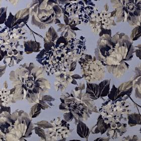Fontainebleau - Sapphire - Cotton and polyester blend fabric printed with a luxurious, elegant floral design in sophisticated shades of blue