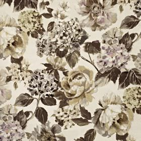 Fontainebleau - Dusk - Various different light and dark shades of grey making up an elegant floral pattern on cotton and polyester blend fab