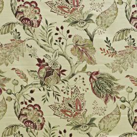 Palais - Ruby - Intricate floral, leaf and branch patterns on cotton and linen blend fabric in deep red and light shades of cream-green