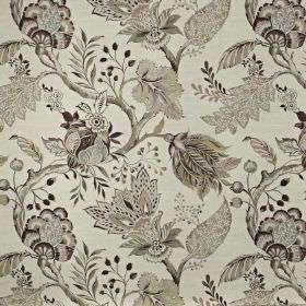 Palais - Dusk - Fabric made from cotton and linen printed with elegant, intricate floral, leaf and branch patterns in various shades of grey