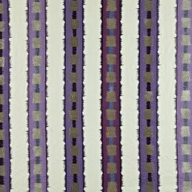 Istana - Amethyst - Gunmetal grey stripes and purple, black, violet, white and blue vertical stripes on fabric made from various materials