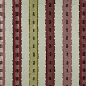 Istana - Ruby - Fabric made from various materials with vertical stripes and squares in off-white, mulberry, light pink, cream and grey