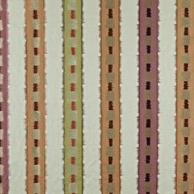 Istana - Amber - Light purple, white, apricot and cucumber coloured fabric made from various materials with vertical stripes and squares
