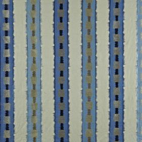 Istana - Sapphire - Bright blue and shades of grey making up vertical stripes and squares on fabric blended from various different materials