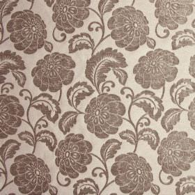 Camden - Sable - 100% polyester fabric patterned with large flowers and vines in a silvery pewter colour