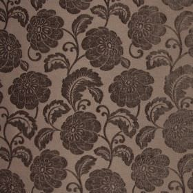 Camden - Havana - Fabric made from dark brown polyester, patterned with large flowers and stems in dark pewter which has a subtle sheen