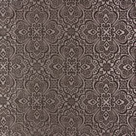 Lambeth - Havana - 100% polyester fabric in dark shades of brown and polyester, with large, intricate, detailed patterns