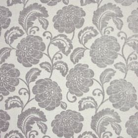 Camden - Silver - Floral patterned polyester fabric with a silver design on a white background