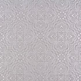Lambeth - Silver - Ornate silver patterns repeatedly patterning a white polyester fabric background